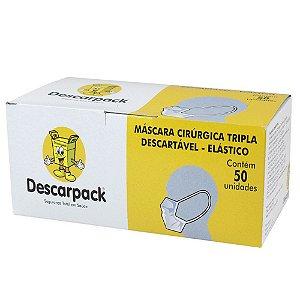 Máscara tripla descartável Descarpack com elástico