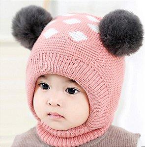 Touca rosa de tricô infantil - pompom duplo - forro peluciado