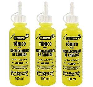 Kit Três Tônico para fortalecimento de cabelo Alho 100ml