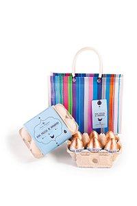 Sacolinha de feira com 6 ovinhos de chocolate, 360g