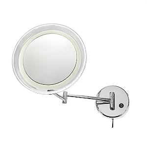 Espelho Fixo com Iluminação LED, Redondo, Haste Articulada (10X)
