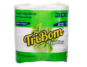 Papel Higiênico Tribom Top Plus Virgem 9cm X 300 m Rolão