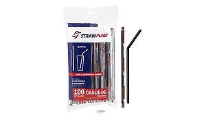 Canudo Flexível 6 Mm Preto Sache Strawplast Pct 100