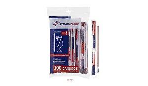 Canudo Mexedor 6 Mm Vermelho Strawplast Pct 100