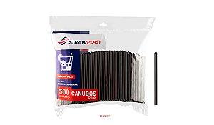 Canudo Drink 6 Mm Preto Strawplast Pct 500