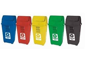 Lixeiras Plástica 50l para Coleta Seletiva Tampa Basculante