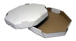 Caixa de Pizza Oitavada Branco Lisa - 20cm