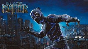 Painel de Festa Infantil Personalizado em Tecido Tema Pantera Negra Marvel 3
