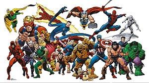 Painel de Festa Infantil Personalizado em Tecido Tema Heróis da Marvel 1