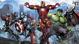 Painel de Festa Infantil Personalizado em Tecido Tema Vingadores Marvel 8