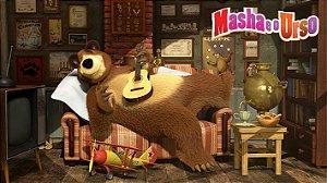 Painel de Festa Infantil Personalizado em Tecido Tema Masha e o Urso 3