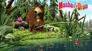 Painel de Festa Infantil Personalizado em Tecido Tema Masha e o Urso 4