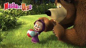 Painel de Festa Infantil Personalizado em Tecido Tema Masha e o Urso 8