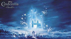 Painel de Festa Infantil Personalizado em Tecido 138x78cm Castelo Cinderela 2
