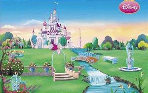 Painel de Festa Infantil Personalizado em Tecido 138x86cm Castelo Cinderela 5