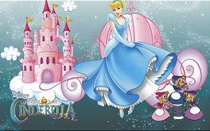 Painel de Festa Infantil Personalizado em Tecido Tema Cinderela 24