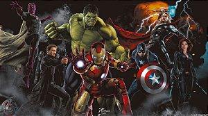 Painel de Festa Infantil Personalizado em Tecido Tema Vingadores Marvel 13