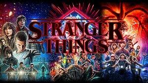Painel de Festa Infantil Personalizado em Tecido Tema Stranger Things 2