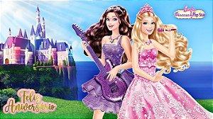 Painel de Festa Infantil Personalizado em Tecido Barbie 6