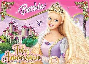 Painel de Festa Infantil Personalizado em Tecido Barbie 14