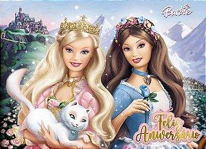 Painel de Festa Infantil Personalizado em Tecido Barbie 19