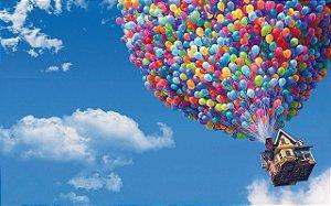 Painel de Festa Infantil Personalizado em Tecido 138x87cm Tema UP Altas Aventuras Disney 1