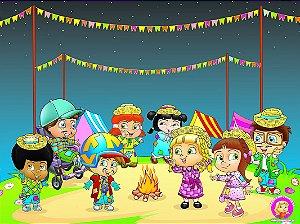 Painel de Festa Infantil Personalizado em Tecido Festa Junina 138x103cm 1