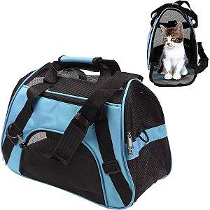 Bolsa Transporte Flexível Cães e Gatos Pet Avião Cor Azul Tamanho Pequeno
