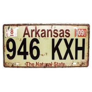 Placa de carro antiga decorativa metálica vintage Arkansas