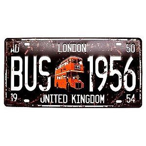 Placa de carro antiga decorativa metálica vintage London Bus