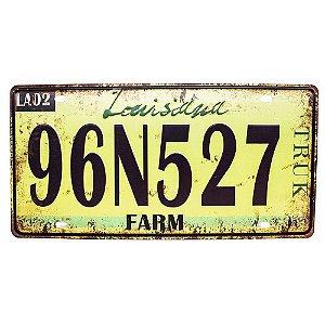 Placa de carro antiga decorativa metálica vintage Louisiana