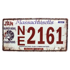 Placa de carro antiga decorativa metálica vintage Massachusetts