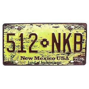 Placa de carro antiga decorativa metálica vintage New Mexico
