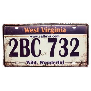 Placa de carro antiga decorativa metálica vintage West Virginia