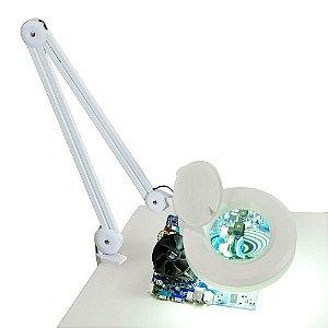 Lupa Luminaria Estetica Mesa Profissional 126 Led Alto Brilho Bivolt 110/220v Aumento 10x Depilação Tatuagens