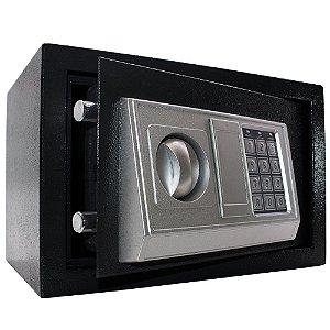 Cofre Eletrônico Digital Preto 31x20x20 cm com Chave e Senha