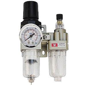 Filtro de Ar Regulador Lubrificador Manômetro 1/4 para Compressor de Ar