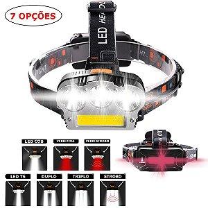 Lanterna Cabeça Recarregável Strobo Triplo Led T6 +  Cob 15000 lúmens