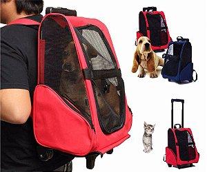 Mochila Bolsa com Rodas para Transporte Cães Gatos Dog Bag Passeio Pets