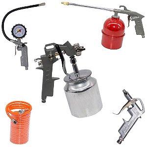 Kit 5 Peças Pistola Pintura Acessórios Pulverização Compressor