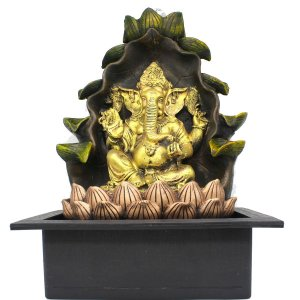 Fonte de Água Decorativa Resina Cascata Iluminação de Led Ganesha