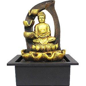 Fonte de Água Decorativa Resina Cascata Iluminação de Led Buda