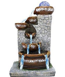 Fonte de Água Decorativa Resina Cascata Iluminação de Led