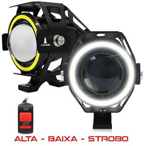 Kit 2x Farol Milha Led Moto Universal Aluminio U7 Angel Eyes com Interruptor