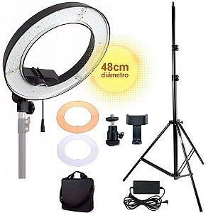 """Iluminador Ring Light Circular 18"""" 48cm 240 Led 50w 5500k com Tripé Suporte Câmera 2 Filtros difusores (Branco e Amarelo)"""