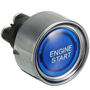 Botão Partida Carro Engine Start Led Iluminado Azul Universal