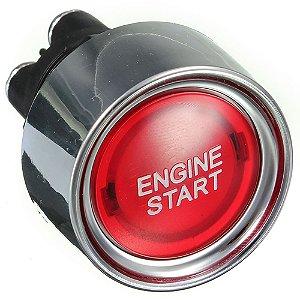 Botão Partida Engine Start Led Iluminado Vermelho Universal