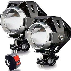 Kit 2x Farol Milha Universal Led Cree U5 Auxiliar Moto com Interruptor
