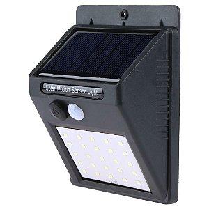Luminária Solar de Parede 25 Leds com Sensor de Movimento e Acendimento Automático