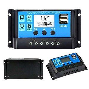Controlador de Carga Solar 30A 12/24v Lcd 2 saídas USB